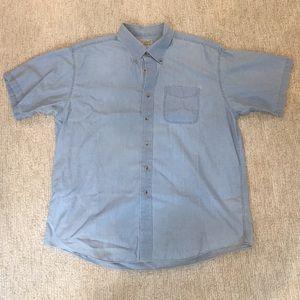 LL Bean Men's Chambray Short-Sleeve Button Down XL